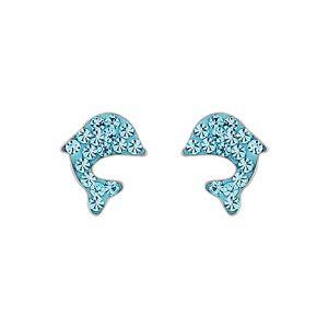 Boucles d'oreilles en argent rhodié dauphin en résine et strass bleu ciel et fermoir clou avec poussette