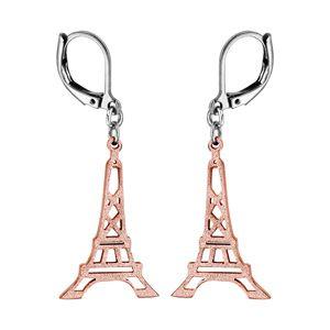 Boucles d'oreilles pendantes en acier et PVD rose tour Eiffel granitée et fermoir dormeuse