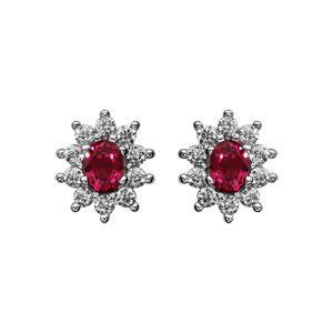 Boucles d'oreilles en argent rhodié collection joaillerie pierre centrale rouge contour oxydes blancs sertis et fermoir poussette