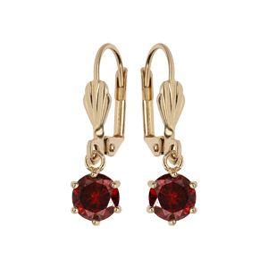Boucles d'oreille pendantes en plaqué or avec pierre ronde rouge serti griffes et fermoir dormeuse