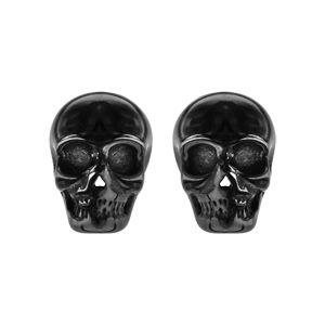 Boucles d'oreilles en acier et PVD noir tête de mort fermoir tige à poussette