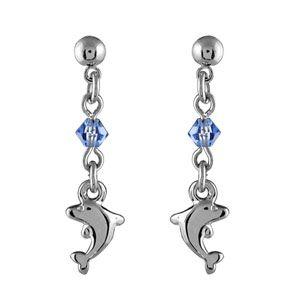 Boucles d'oreilles pendantes en argent chaînette avec oxyde bleu au milieu et dauphin à l'extrémité et fermoir clou avec poussette