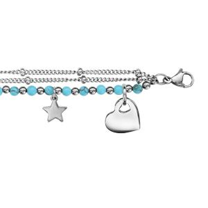 Bracelet en acier 3 chaînes dont 1 avec boules turquoises et pampilles coeur, aile d'ange, infini, trèfle à 4 feuilles, fer à cheval et étoile - longueur 16cm + 3cm de rallonge