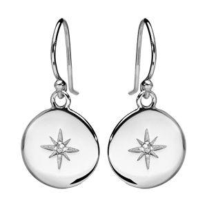 Boucles d'oreille pendantes en argent rhodié pastille avec étoile oxyde blanc sertis et fermoir crochet