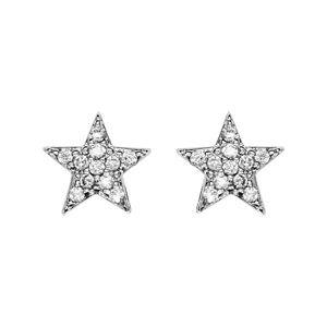 Boucles d'oreilles en argent rhodié étoile pavée d'oxydes blancs sertis et fermoir clou avec poussette