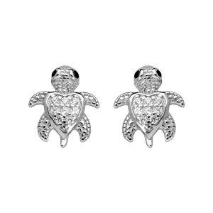 Boucles d'oreille en argent rhodié tortue ornée d'oxydes blancs sertis et fermoir poussette