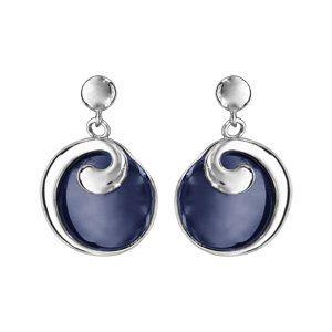 Boucles d'oreilles pendantes en argent rhodié rond en céramique bleu marine avec moitié du tour lisse qui se fini en bague en haut - fermoir clou avec poussette
