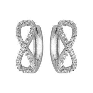 Boucles d'oreille en argent rhodié style demi créole symbole infini avec oxydes blancs sertis