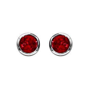 Boucles d'oreilles en argent rhodié avec pierre rouge ronde sertie clos et fermoir poussette