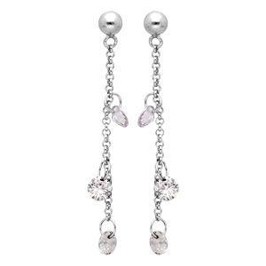 Boucles d'oreille pendantes en argent rhodié chaînette avec 3 pierres blanches et fermoir poussette