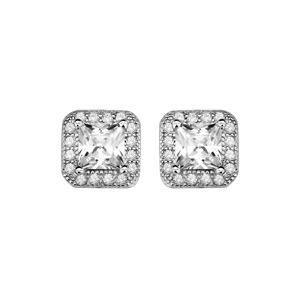 Boucles d'oreilles en argent rhodié collection joaillerie oxyde blanc carré avec tour orné de petits oxydes blancs sertis et fermoir poussette