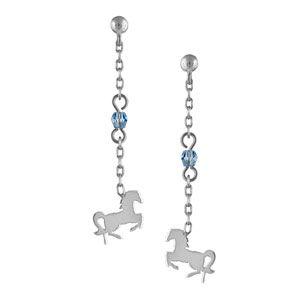 Boucles d'oreilles pendantes en argent rhodié chaînette longue avec oxyde bleu au milieu et cheval à l'extrémité et fermoir clou avec poussette