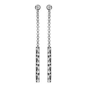 Boucles d'oreilles pendantes en argent rhodié chaînette avec baguette diamantée à l'extrémité et fermoir clou avec poussette