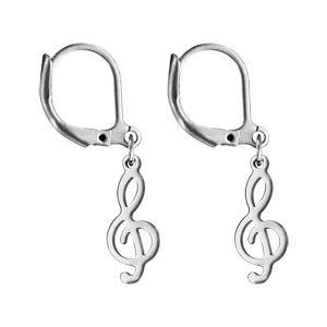 Boucles d'oreilles pendantes en acier clé de sol et fermoir dormeuse