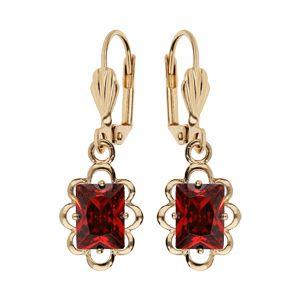 Boucles d'oreille pendantes en plaqué or avec pierre carre rouge serti et fermoir dormeuse