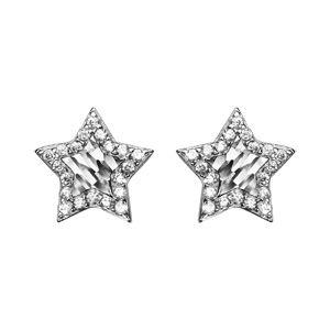 Boucles d'oreilles en argent étoile avec milieu diamanté et contour orné d'oxydes blancs et fermoir clou avec poussette