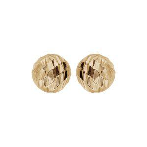 Boucles d'oreille en argent et dorure jaune boule diamantée 5mm et fermoir poussette