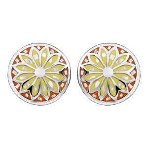 Boucles d'oreilles Stella Mia en acier et nacre blanche véritable plateau rond bombé motif fleur et dégradé de jaune et orange et fermoir clou avec poussette
