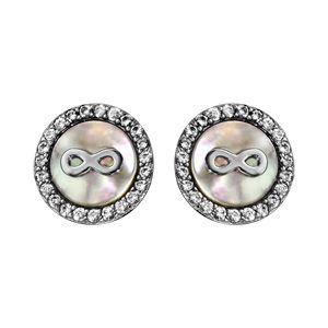 Boucles d'oreille tige argent rhodié ronde contour oxydes blancs sertis avec nacre et motif infini
