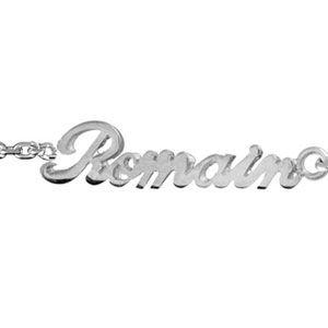 Bracelet en argent chaîne maille forçat avec découpe anglaise 2 prénoms séparés par un coeur - longueur 18,5cm réglable 17cm