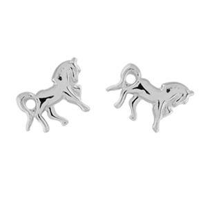Boucles d'oreilles en argent cheval et fermoir clou avec poussette