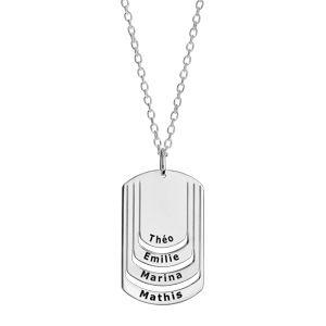 Collier en argent chaîne avec pendentif plaque G.I. à graver 4 prénoms - longueur 50cm + 5cm