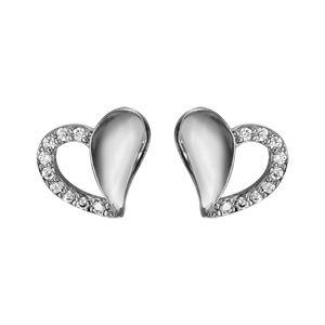 Boucles d'oreilles en argent rhodié coeur 1 moitié lisse et l'autre motié évidée avec tour en oxydes blancs sertis et fermoir clou avec poussette