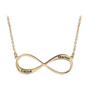 Collier en plaqué or chaîne avec pendentif infini à graver 1 ou 2 prénoms - longueur 40cm + 5cm de rallonge