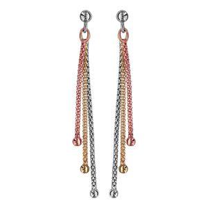 Boucles d'oreilles pendantes en argent et dorure jaune et rose chaînettes et boule lisse au bout et fermoir poussette