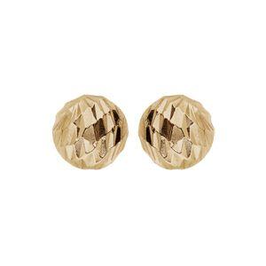 Boucles d'oreille en argent et dorure jaune boule diamantée 6mm et fermoir poussette