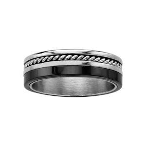 Alliance en acier avec 1 bande en céramique noire et 1 bande avec fil torsadé au milieu