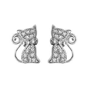Boucles d'oreilles en argent rhodié chat orné d'oxydes blancs sertis avec noeud papillon et fermoir clou avec poussette