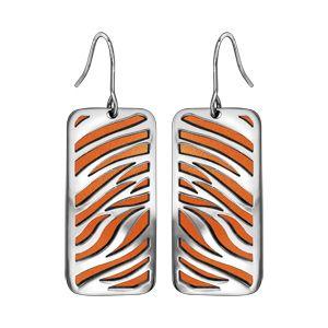 Boucles d'oreilles en acier crochet motifs zèbre polyuréthane orange