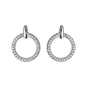 Boucles d'oreilles en argent rhodié avec cercle orné d'oxydes blancs sertis et petite barre verticale et fermoir poussette