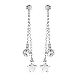 Boucles d'oreilles en argent rhodié double pendantes 1 étoile et 1 oxyde blanc serti fermoir tige à poussette