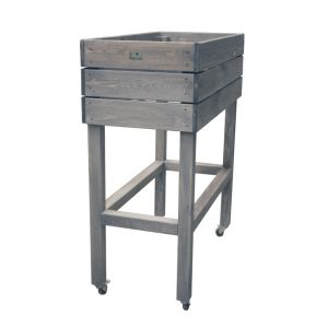 Potager en bois gris sur pieds avec roulettes 40x80 cm