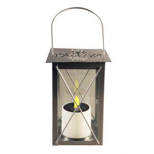 Lanterne solaire carrée en métal argent à LED jaune 14,5x14,5x21 cm
