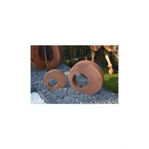 Photophore bulle en métal effet rouille coloris marron 40 cm