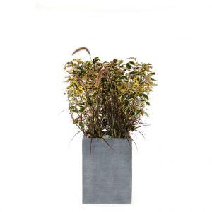 Pot carré mi-haut Stream coloris anthracite 37x37x50 cm