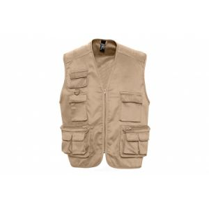 Sol s gilet reporter multipoches sans manches   43630   beige xxl