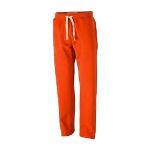 James et nicholson pantalon jogging   homme   jn945   orange fonce   molletonne vintage coupe droite s