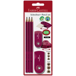 Crayons papier + gomme + taille crayon mûre