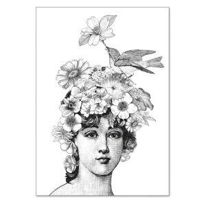 Carte double à colorier 12 x 17 cm Flora