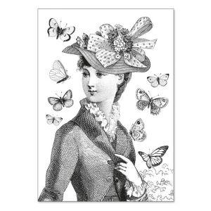Carte double à colorier 12 x 17 cm Miss Butterfly