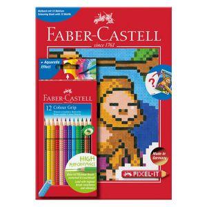 Album de coloriage Pixel-It + 12 crayons de couleur Colour Grip
