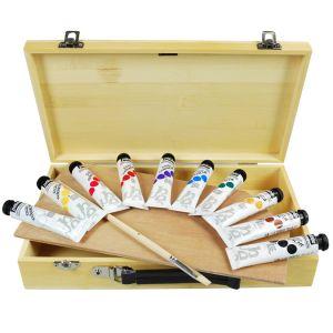 Coffret gouache Studio Malette en bois 10 tubes + Accessoires