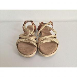 Sandales plates  REQINS cuir beige 37
