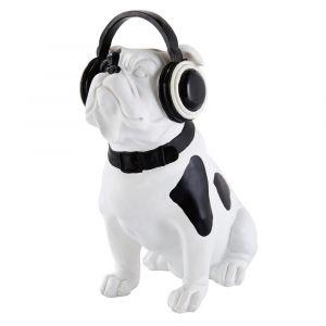 Statuette chien noir et blanc H33