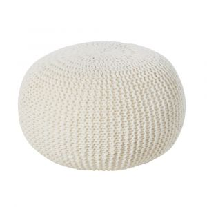 Pouf tricotée en laine écrue 35x50