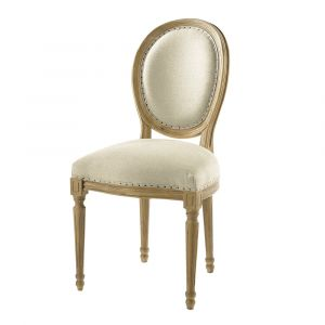 Chaise médaillon en lin et chêne massif Louis